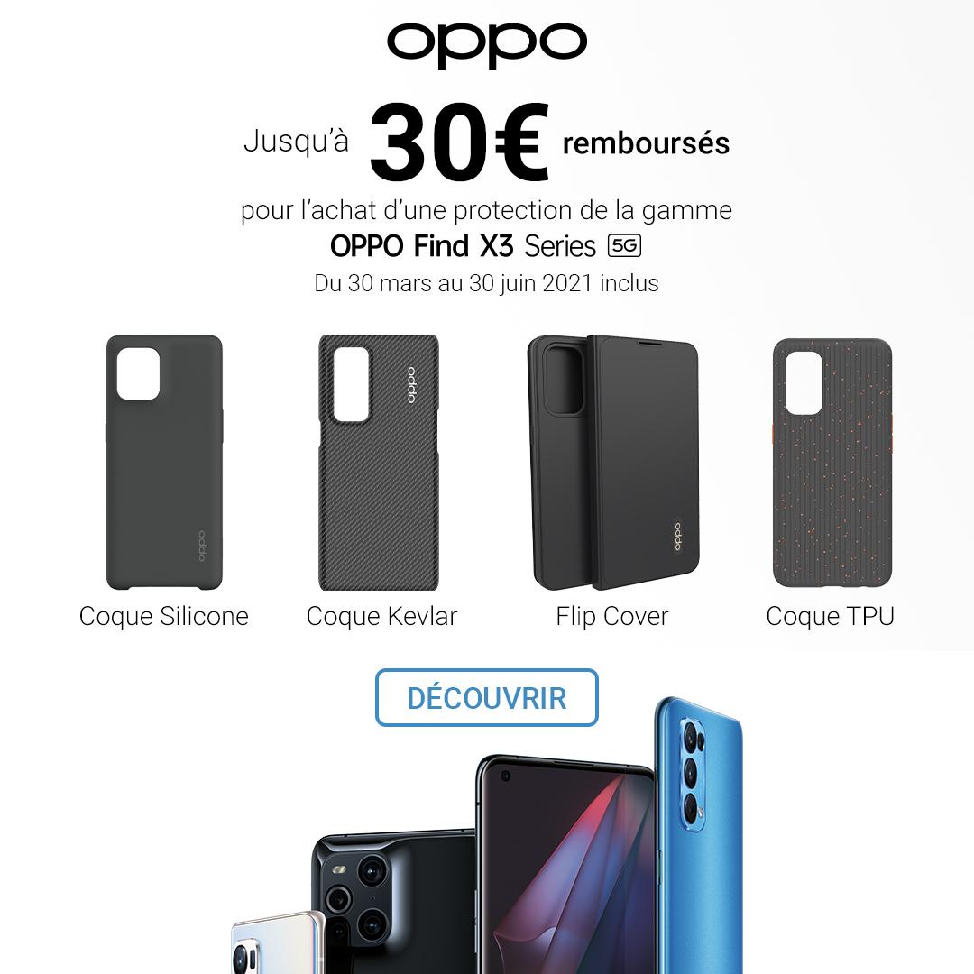 Jusqu'à 30€ remboursés pour l'achat d'une protection de la gamme OPPO Find X3 Series