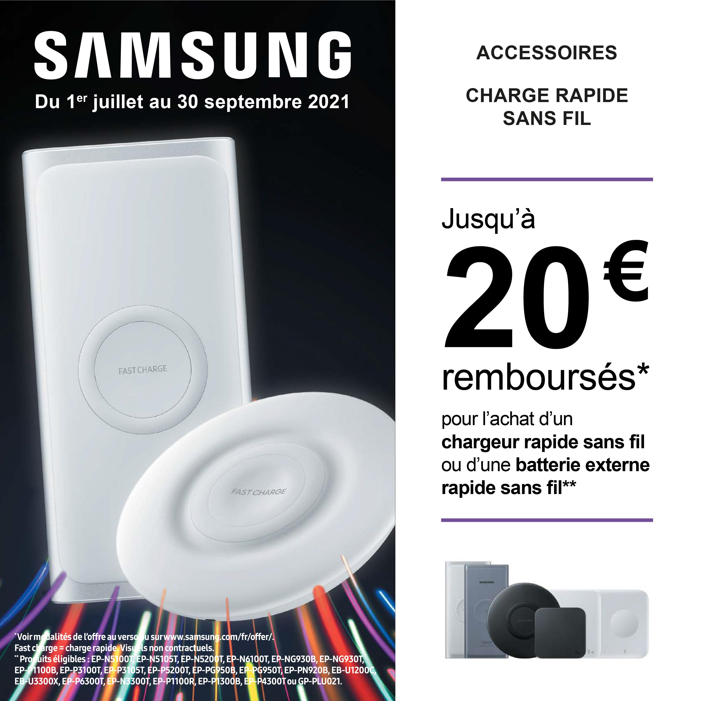 Jusqu'à 20€ remboursés pour l'achat d'un chargeur rapide sans fil ou d'une batterie externe rapide sans fil