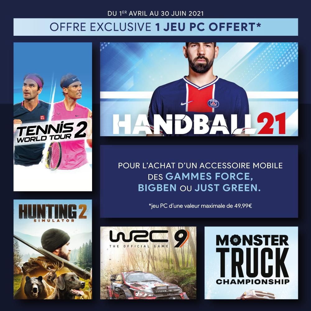 1 jeu offert pour tout achat d'un accessoire mobile de la gamme Bigben, Force ou Just Green
